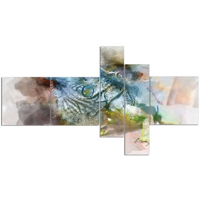 Designart Green Iguana Close Up Painting Multipanel Abstract Canvas Artwork - 5 Panels