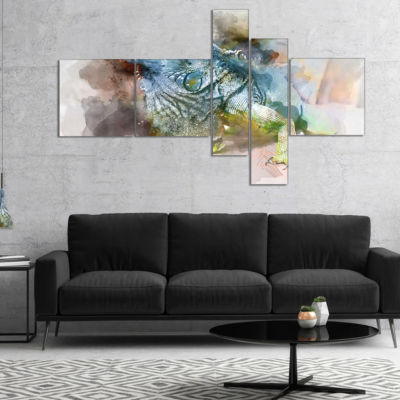 Designart Green Iguana Close Up Painting Multipanel Large Abstract Canvas Artwork - 4 Panels