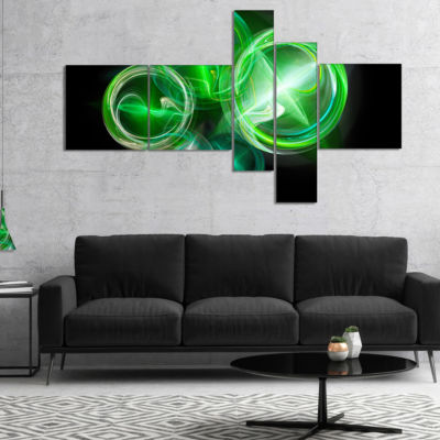 Designart Green In Black Fractal Desktop Multipanel Large Abstract Art - 4 Panels