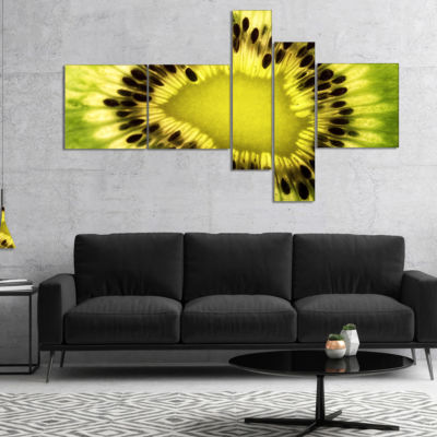 Designart Green Kiwi Seeds And Inside Pattern Multipanel Abstract Canvas Art Print - 5 Panels