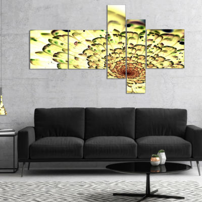 Designart Green Light Fractal Flower Pattern Multipanel Abstract Wall Art Canvas - 4 Panels