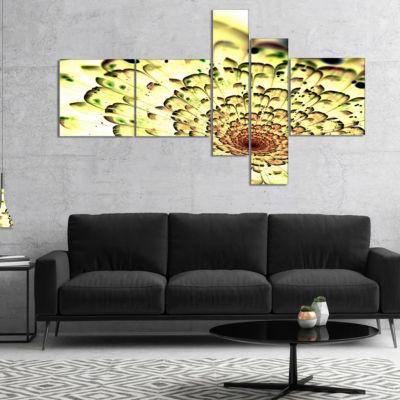 Designart Green Light Fractal Flower Pattern Multipanel Abstract Wall Art Canvas - 5 Panels
