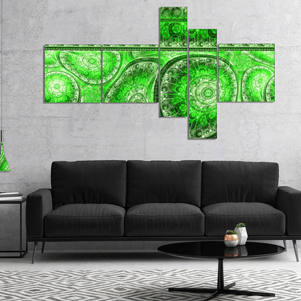 Designart Green Living Cells Fractal Design Multipanel Abstract Canvas Art Print - 5 Panels
