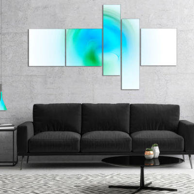 Designart Green Luminous Misty Sphere MultipanelAbstract Canvas Art Print - 5 Panels