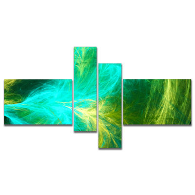 Designart Green Mystic Psychedelic Design Multipanel Abstract Art On Canvas - 4 Panels