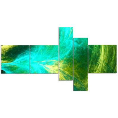Design Art Green Mystic Psychedelic Design Multipanel Abstract Art On Canvas - 5 Panels