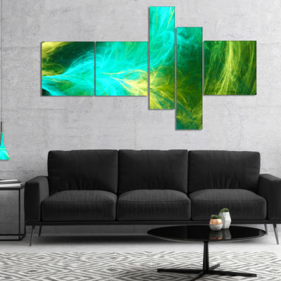 Designart Green Mystic Psychedelic Design Multipanel Abstract Art On Canvas - 5 Panels
