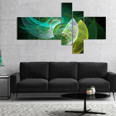Designart Green Mystic Psychedelic Texture Multipanel Abstract Art On Canvas - 5 Panels