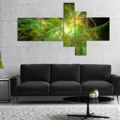 Design Art Green On Black Fractal Illustration Multipanel Abstract Canvas Art Print - 5 Panels