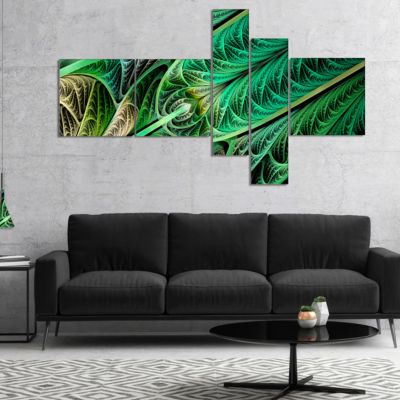 Designart Green On Black Fractal Stained Glass Multipanel Abstract Wall Art Canvas - 5 Panels
