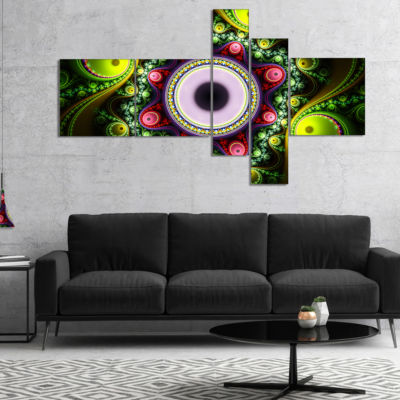 Designart Green On Black Pattern With Circles Multipanel Abstract Canvas Art Print - 5 Panels