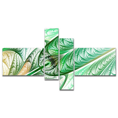 Designart Green On White Fractal Stained Glass Multipanel Abstract Wall Art Canvas - 4 Panels
