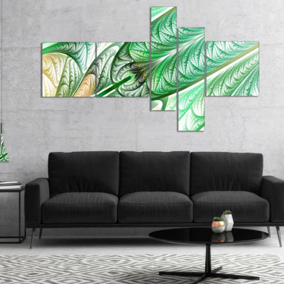 Designart Green On White Fractal Stained Glass Multipanel Abstract Wall Art Canvas - 5 Panels