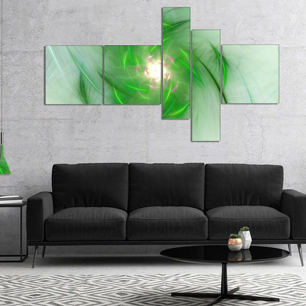 Designart Green On White Fractal Whirlpool Multipanel Abstract Wall Art Canvas - 4 Panels