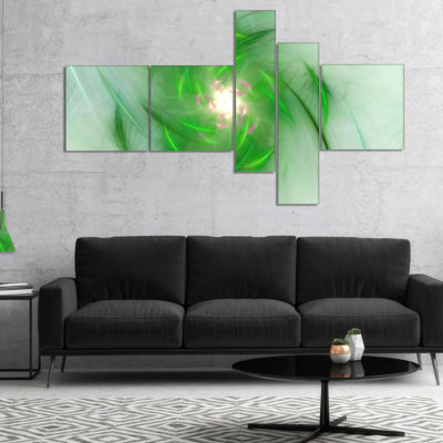 Designart Green On White Fractal Whirlpool Multipanel Abstract Wall Art Canvas - 5 Panels