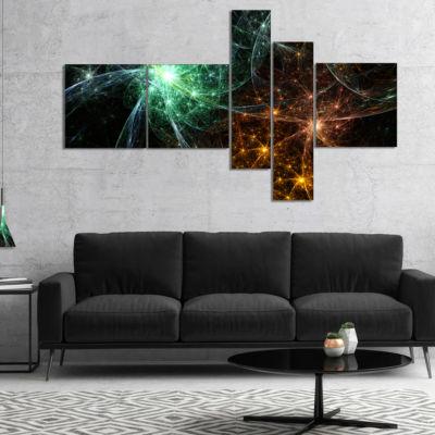 Designart Green Orange Colorful Fireworks Multipanel Abstract Canvas Art Print - 4 Panels
