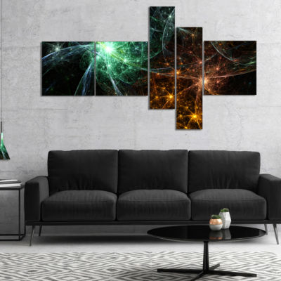 Design Art Green Orange Colorful Fireworks Multipanel Abstract Canvas Art Print - 5 Panels