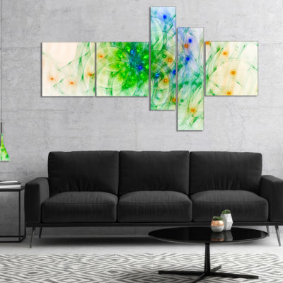 Designart Green Outline Of Fractal Colors Multipanel Abstract Wall Art Canvas - 5 Panels