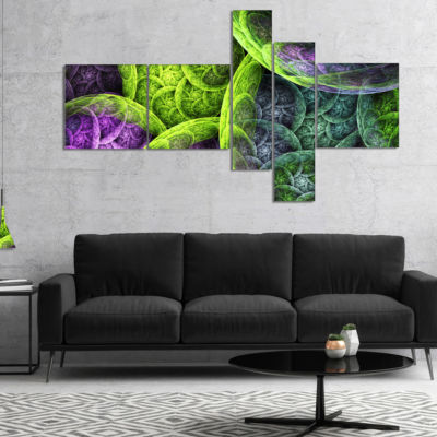 Designart Green Pink Colorful Clouds Multipanel Abstract Canvas Art Print - 5 Panels