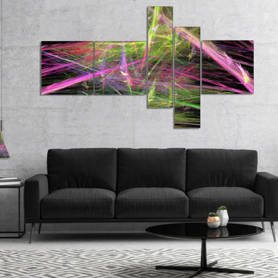 Designart Green Pink Magical Fractal Pattern Multipanel Abstract Canvas Wall Art - 5 Panels