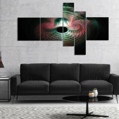 Designart Green Pink Magical Lights Multipanel Abstract Art On Canvas - 5 Panels