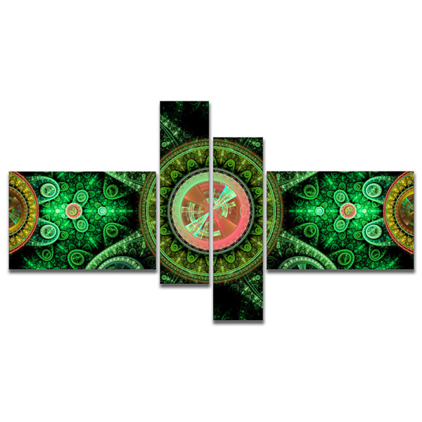 Designart Green Psychedelic Relaxing Art Multipanel Abstract Canvas Art Print - 4 Panels