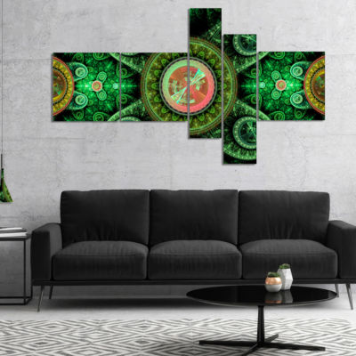 Design Art Green Psychedelic Relaxing Art Multipanel Abstract Canvas Art Print - 4 Panels