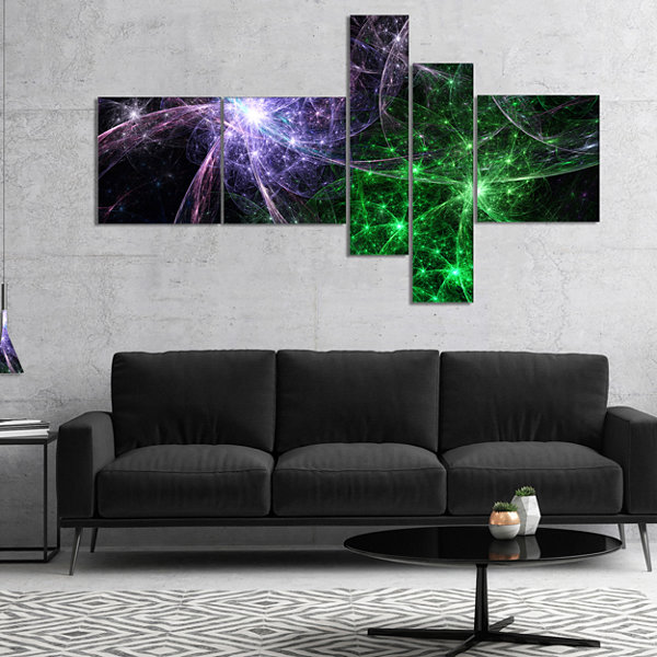 Designart Green Purple Colorful Fireworks Multipanel Abstract Art On Canvas - 4 Panels