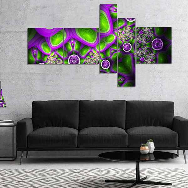 Designart Green Purple Exotic Pattern MultipanelAbstract Wall Art Canvas - 4 Panels