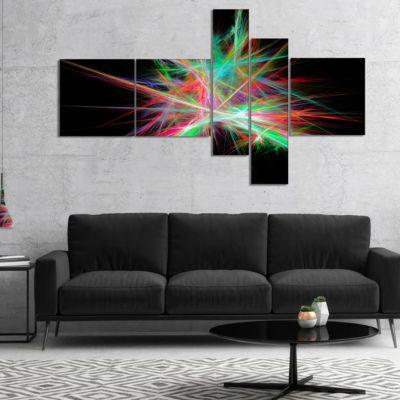 Designart Green Red Spectrum Of Light MultipanelAbstract Canvas Art Print - 4 Panels