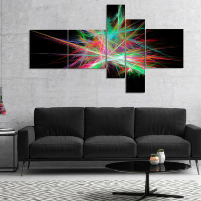 Designart Green Red Spectrum Of Light MultipanelAbstract Canvas Art Print - 5 Panels