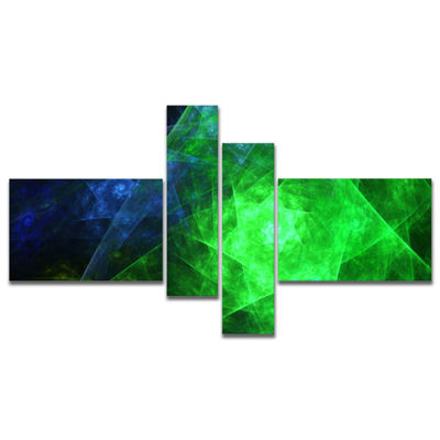 Designart Green Rotating Polyhedron Multipanel Abstract Canvas Art Print - 4 Panels