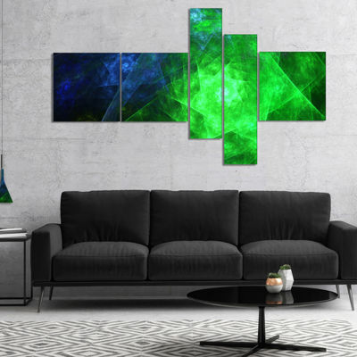 Designart Green Rotating Polyhedron Multipanel Abstract Canvas Art Print - 5 Panels