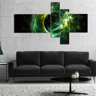 Designart Green Sparkling Lightning Multipanel Abstract Canvas Art Print - 4 Panels