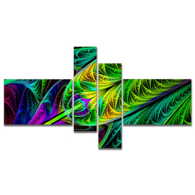 Designart Green Stained Glass Texture Multipanel Abstract Wall Art Canvas - 4 Panels