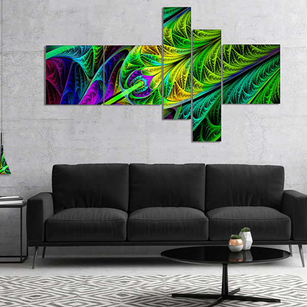 Designart Green Stained Glass Texture MultipanelAbstract Wall Art Canvas - 5 Panels