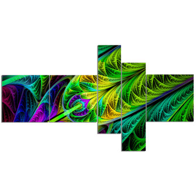 Design Art Green Stained Glass Texture MultipanelAbstract Wall Art Canvas - 5 Panels