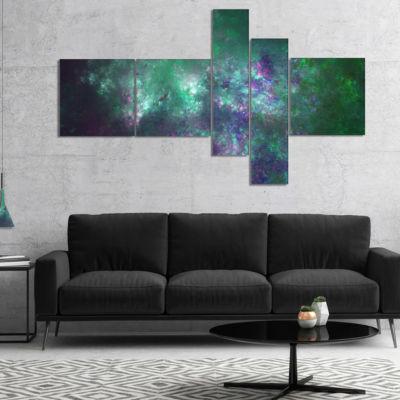Designart Green Starry Fractal Sky Multipanel Abstract Canvas Art Print - 5 Panels