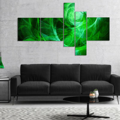 Designart Green Stormy Sky Texture Multipanel Abstract Canvas Art Print - 5 Panels