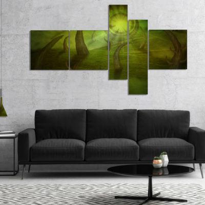 Designart Green Time Travel Multipanel Abstract Canvas Art Print - 5 Panels