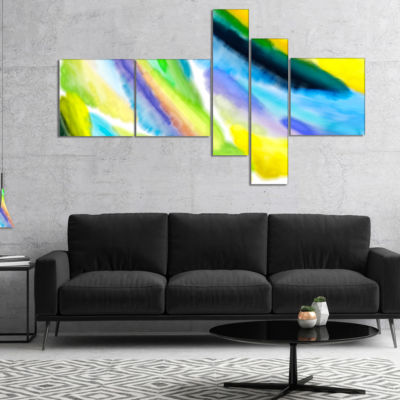 Design Art Green Vibrant Brushstrokes Multipanel Abstract Canvas Art Print - 5 Panels