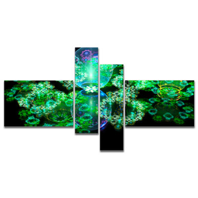 Designart Green Water Drops On Mirror MultipanelAbstract Canvas Art Print - 4 Panels