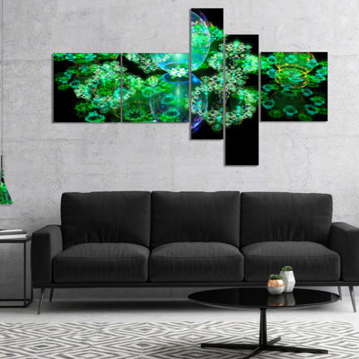 Designart Green Water Drops On Mirror MultipanelAbstract Canvas Art Print - 5 Panels