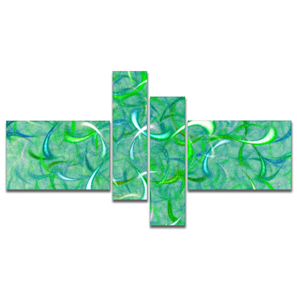 Designart Green Watercolor Fractal Pattern Multipanel Abstract Art On Canvas - 4 Panels