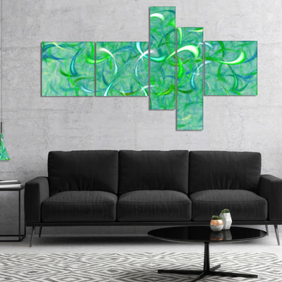 Designart Green Watercolor Fractal Pattern Multipanel Abstract Art On Canvas - 5 Panels