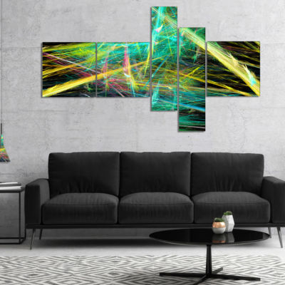 Designart Green Yellow Magical Fractal Pattern Multipanel Abstract Canvas Wall Art - 4 Panels