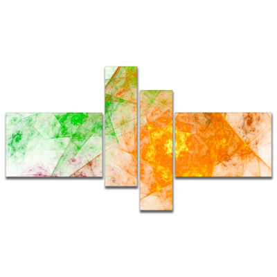Designart Green Yellow Rotating Polyhedron Multipanel Abstract Canvas Art Print - 4 Panels