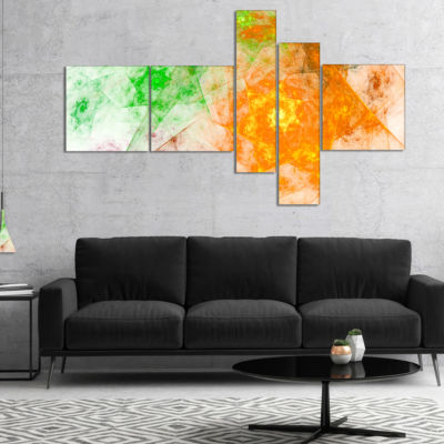 Designart Green Yellow Rotating Polyhedron Multipanel Abstract Canvas Art Print - 5 Panels