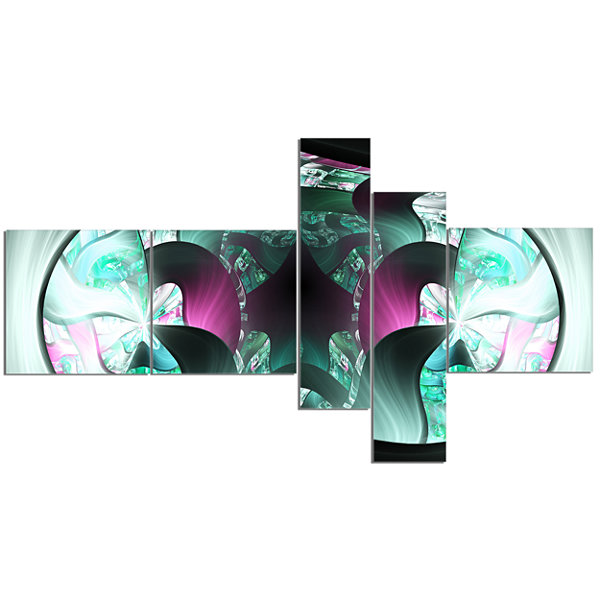 Designart Grey Capsule In Plasma Multipanel Abstract Canvas Art Print - 5 Panels