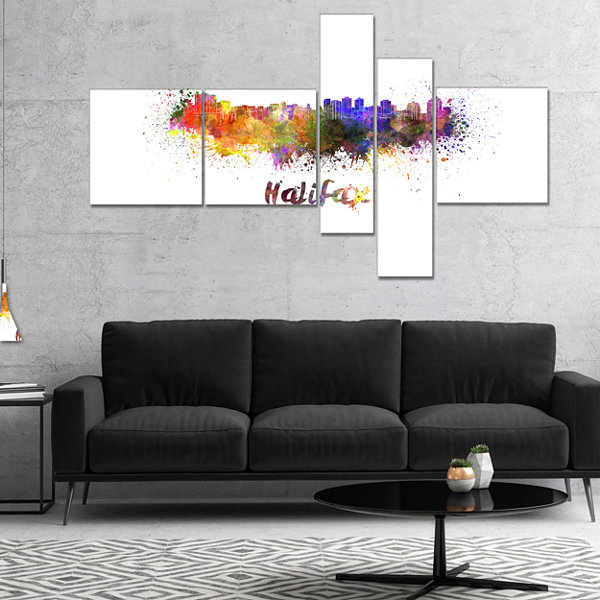 Designart Halifax Skyline Multipanel Cityscape Canvas Artwork Print - 5 Panels